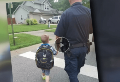 Honoring a fallen officer, by escorting his son to his first day of school